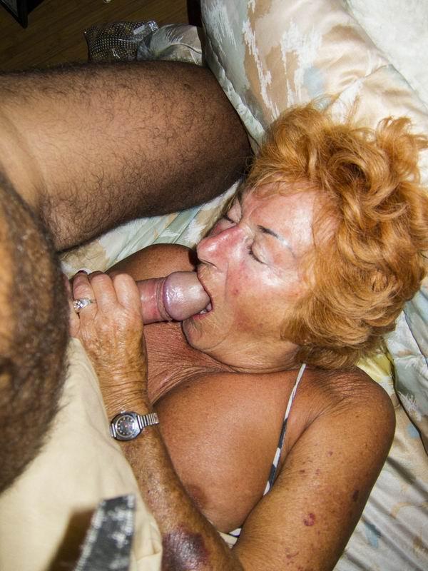 Senior giving blow job